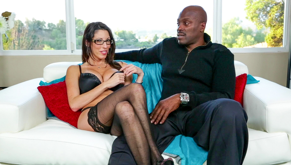 Brunette female Dava Foxx uncovers round tits and bush in tan stockings  355357