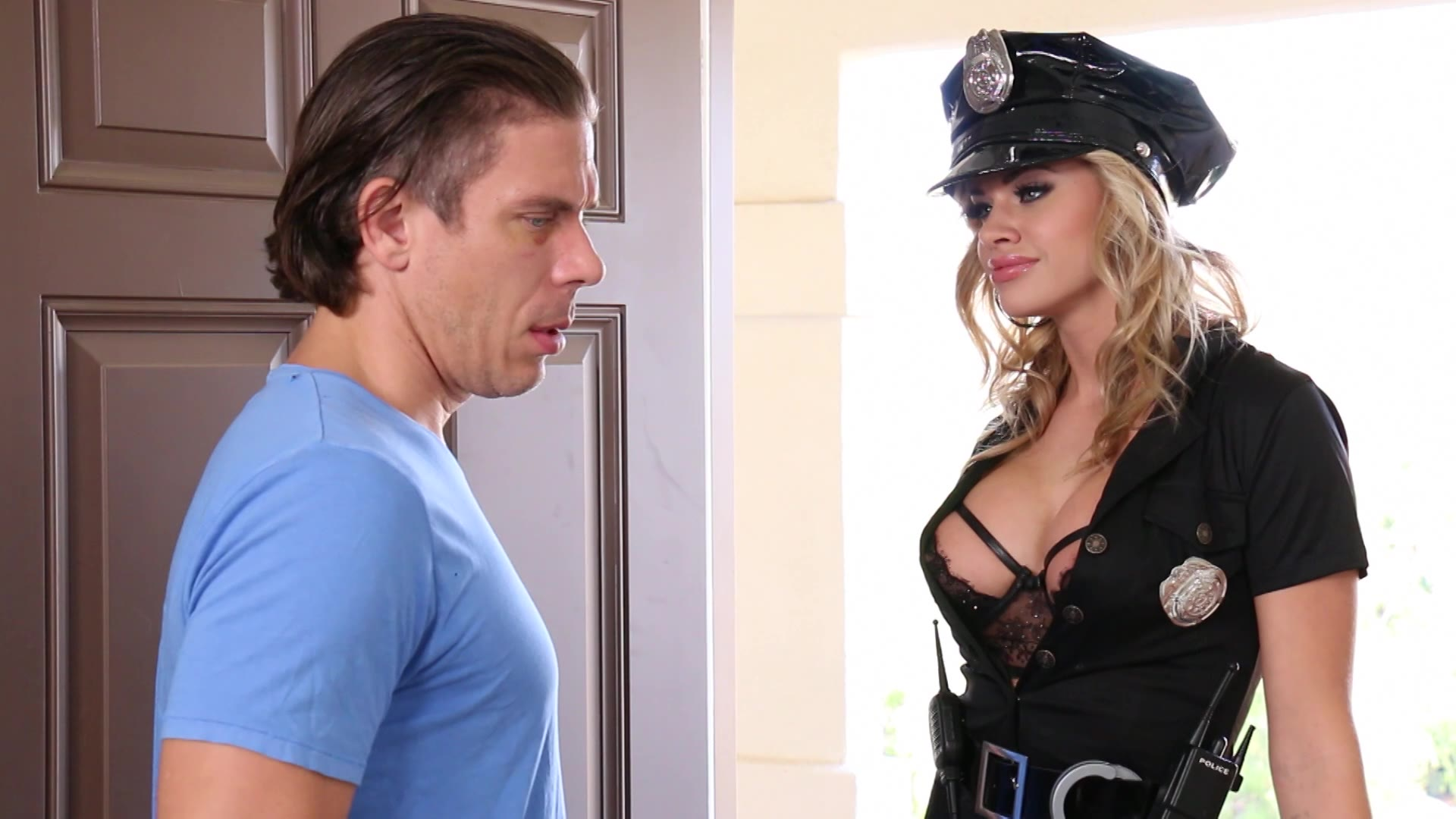 Busty cop bridgette b gets fucked on the police car