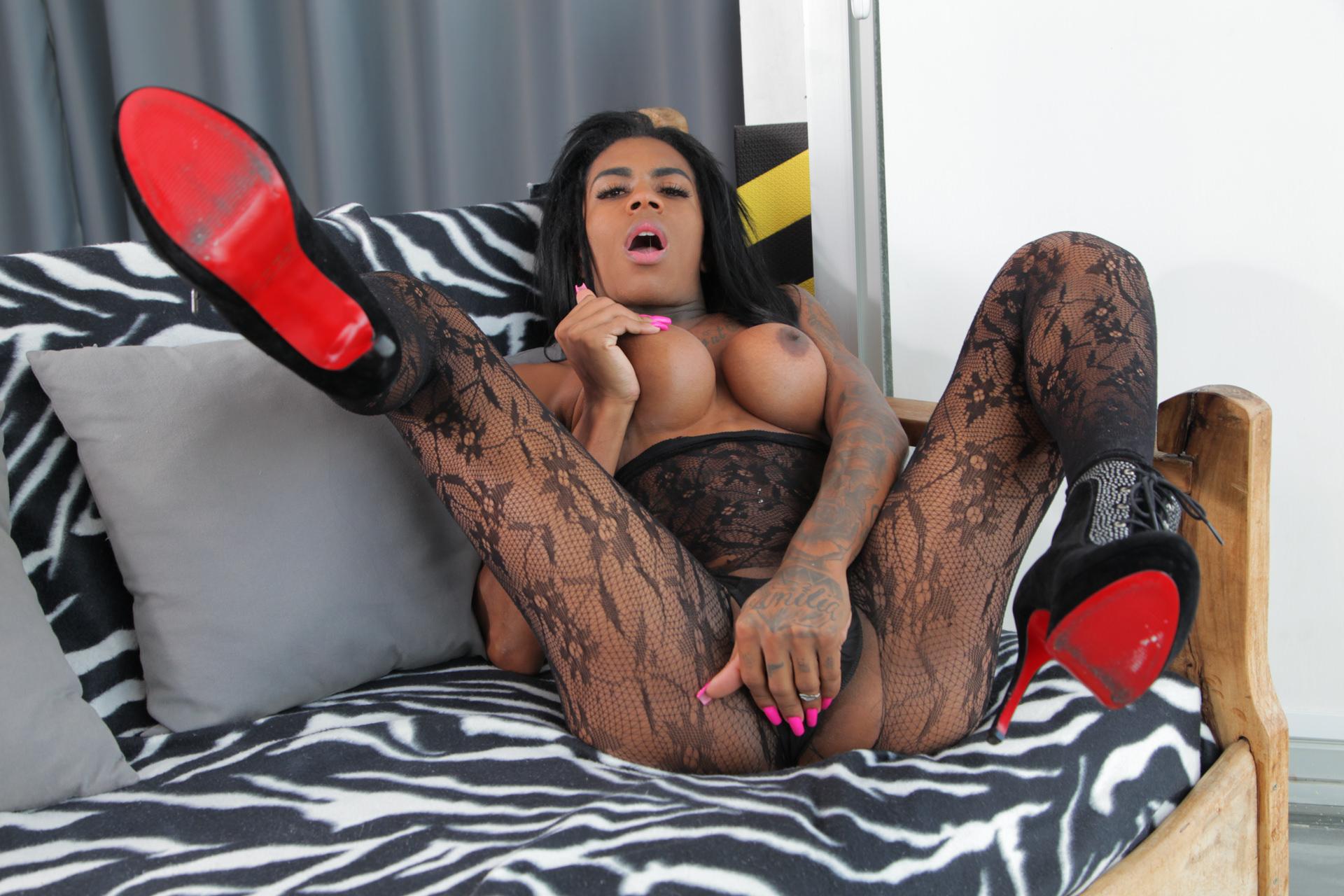TS Sabrina Loppes Jacks Her Huge Cock