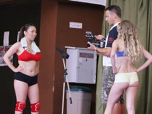 NudeFightClub backstage with Bra