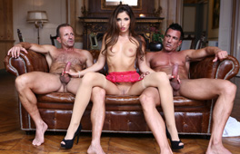French lady pleased by two men