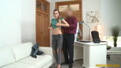 Agent Cums Over Her Skinny Ass