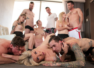 Aubrey Kate + 8: TS Orgy With DA