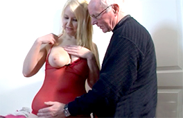 Young blonde takes old cock