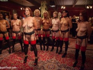 Masquerade Orgy with Nine Slaves,100 Horny Guests,