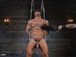 Bound bodybuilding god at the hands and torment of
