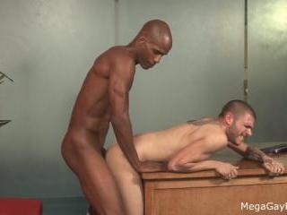 Mega Gay Porn - Tattooed white dude taken by big b