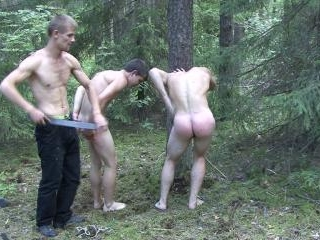 Erotic outdoor spankings for twinks