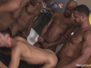Mega Gay Porn - Latino dude taking on 4 black dick