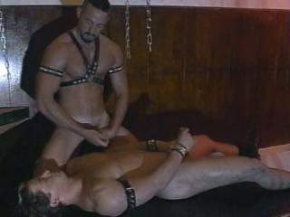 Gay sub gets bound and showered