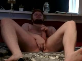 BF plays with ass and cock in cam show