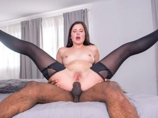 Cassie Fire, wears lingerie for an interracial ana