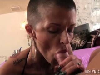 Joslyn James Sucking Cock in Fishnets