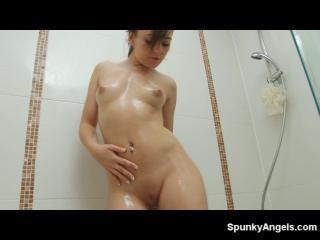 Kacie James gets wet in the shower