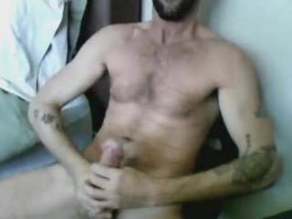 Hairy tattooed boyfriend jacking off