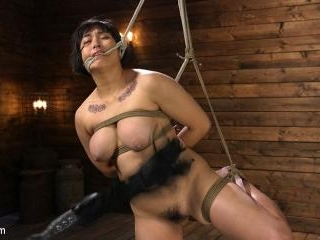 Mia is Bound in Grueling Rope Bondage and Brutally