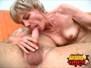 Granny Rosalie Sucking Off a Big Cock