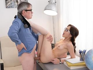 Sweetie gives her teacher sex satisfaction.