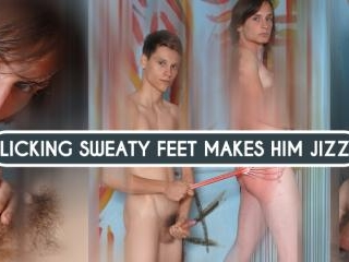 Licking Sweaty Feet Makes Him Jizz