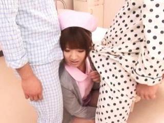 Yua Yoshikawa Naughty nurse has two cocks to suck