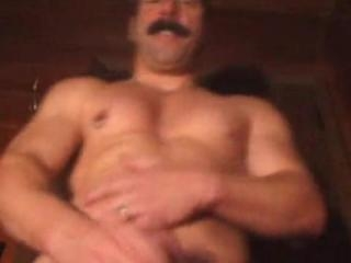 Hot mustache daddy jacking off