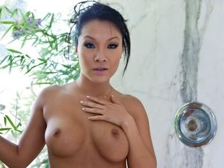 Asa Akira takes a hot shower