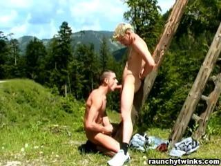 Horny twinks fucking outdoors