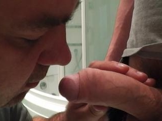 Jizz is being spewed from awfully smelly cock