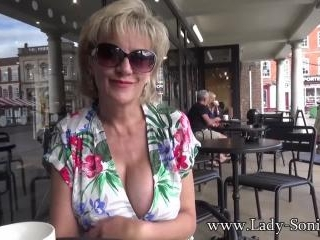 UK MILF Sonia shows her tits in public, and sucks