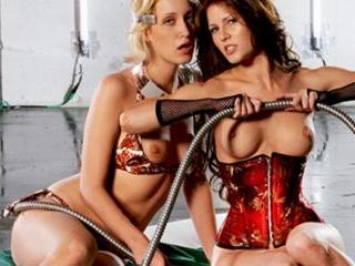 Kinky BDSM threesome in a futuristic dungeon