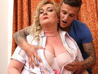 Huge breasted mature BBW playing around with her t