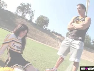 Cute cheerleader drains the coach\'s balls