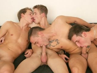 Four Hungry Boys Sucking Cock! - David Gold, Chest