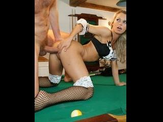 Horny customer fucks the waitress on the pool tabl