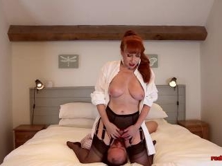 Slutty MILF Red Smothers some guy, sucks his dick