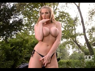 Busty Blonde's Striptease and Pussy Fingering on M