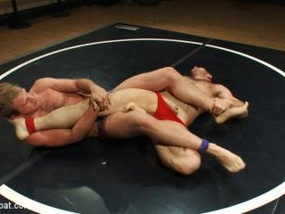 Muscled hunks duke it out in the gym, loser takes