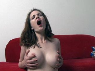 Naked camgirl smoking on the couch