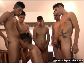 Naughty twinks group sex