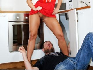 A peep under Marketa\'s dress drives the plumber wi