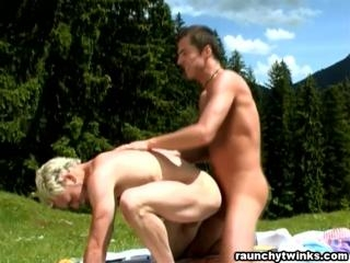 Twinks Constantin and Mark bareback outdoors