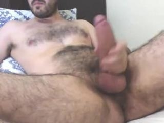 Recorded boyfriend plays with thick cock