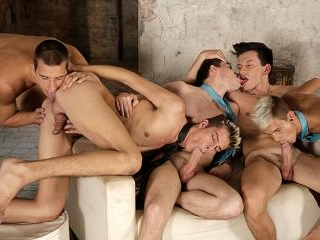 A celebratory gangbang gets this bunch of horny be