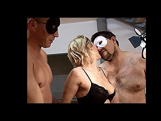 Amateur blonde in a homemade threesome