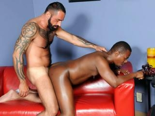 Ebony gay bear goes bottom on webcam