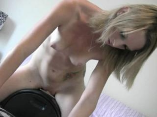 Petite blonde Melanie Masters takes a ride on the