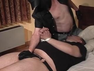 Cocksucking daddy in a BDSM fuck session
