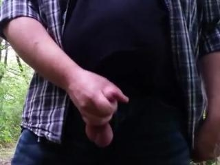Boyfriend plays with boner in the woods