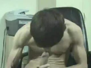 Hardcore horny twink sucking his cock