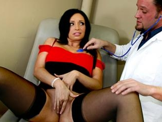 The doctor gives her a massive sperm injection
